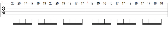 descending single string scale sequence